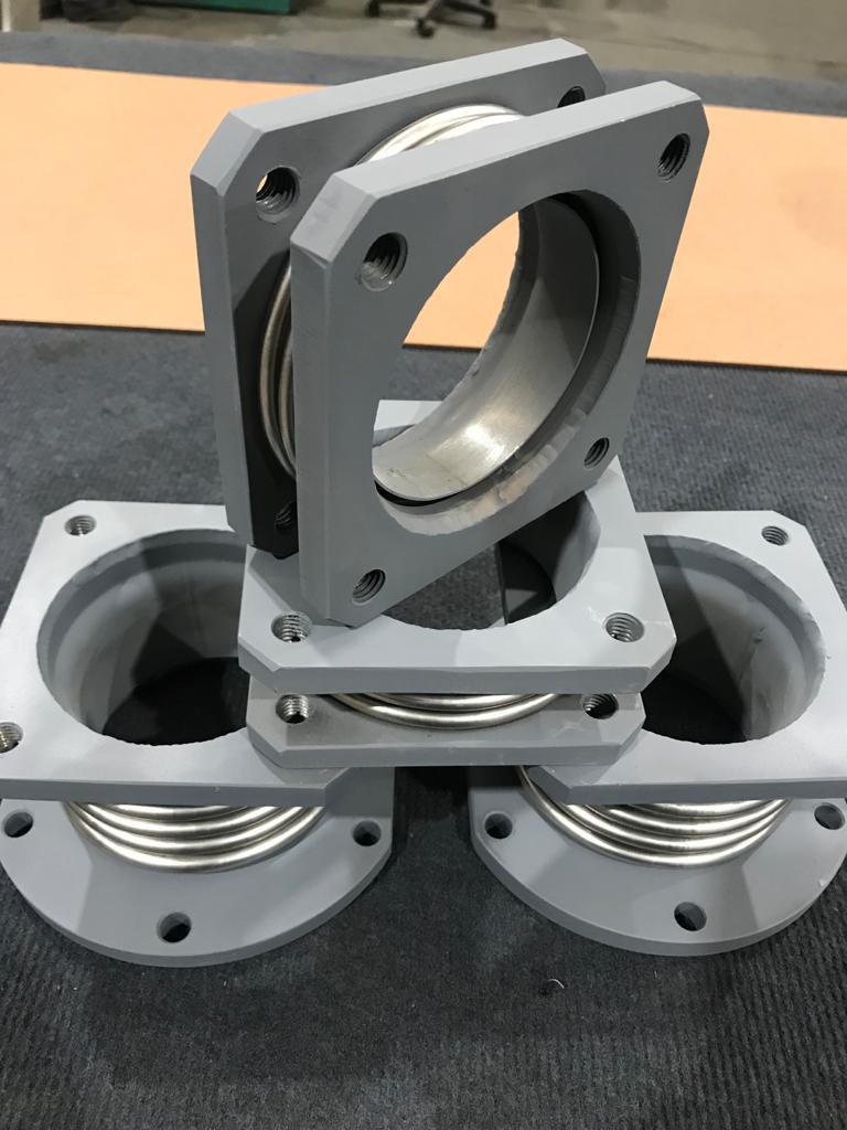 Manufacture of Expansion Joints for engine exhaust with uneven flanges